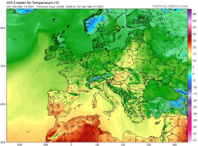 Temperatura prognozowana na sobotę 27 marca według modelu GFS/tropicaltidbits