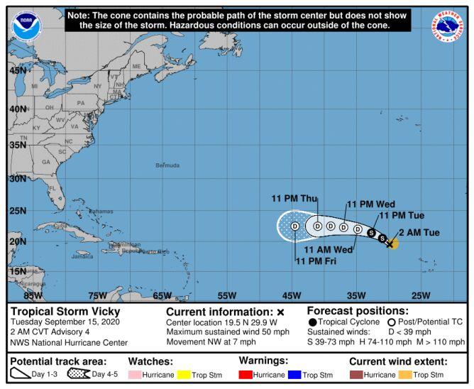 Prognozowana trasa burzy tropikalnej Vicky (NHC)
