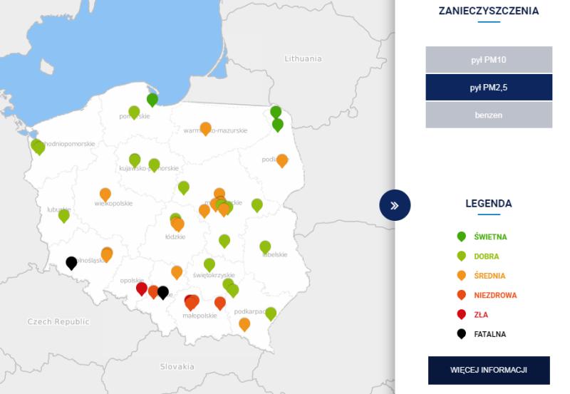 Stężenie pyłu PM2,5 w Polsce po godzinie 6 (TVN Meteo za GIOŚ)